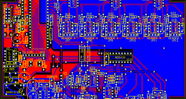 Red and blue PCB designed using Pads PCB design software