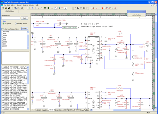 A screenshot of TinyCad software being used.